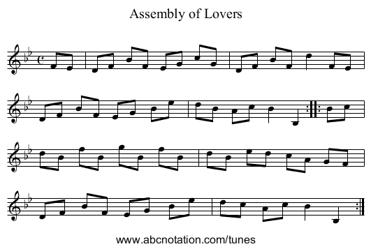 Assembly of Lovers - staff notation
