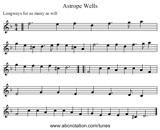 Astrope Wells - staff notation