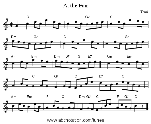 At the Fair - staff notation