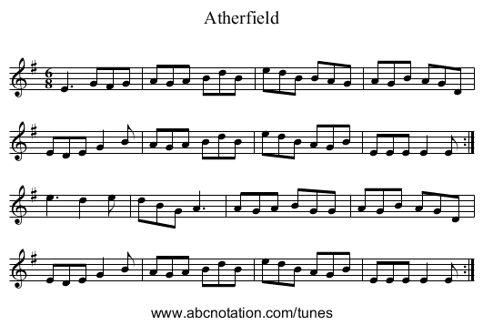 Atherfield - staff notation
