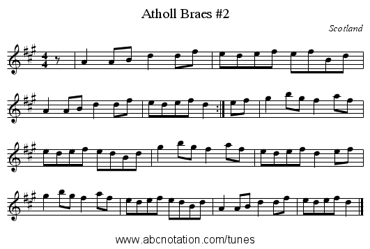 Atholl Braes #2 - staff notation