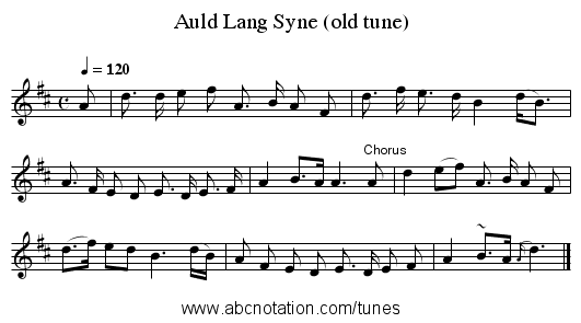Auld Lang Syne (old tune) - staff notation