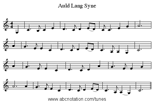 Auld Lang Syne - staff notation