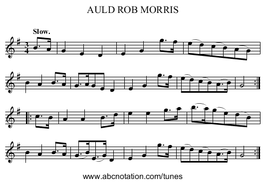 AULD ROB MORRIS - staff notation