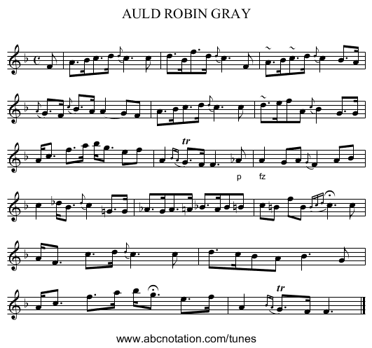 AULD ROBIN GRAY - staff notation