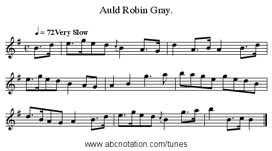 Auld Robin Gray. - staff notation