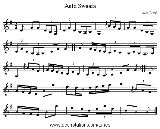 Auld Swaara - staff notation