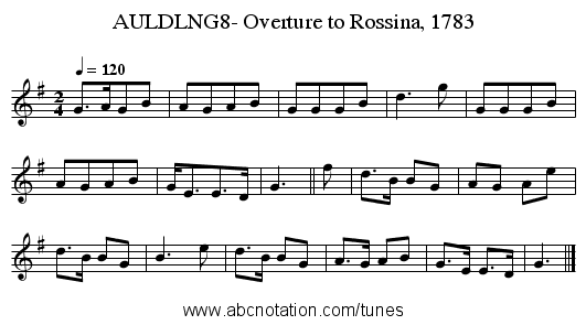 AULDLNG8- Overture to Rossina, 1783 - staff notation