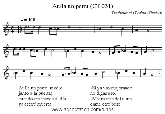 Aulla un perru (CT 031) - staff notation