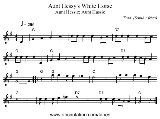 Aunt Hessy's White Horse - staff notation