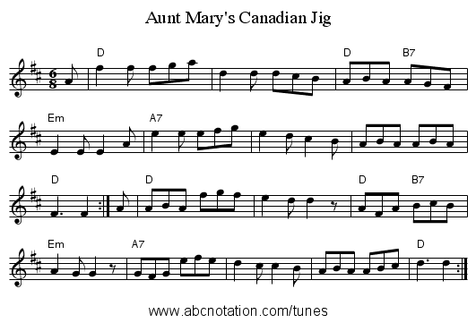 Aunt Mary's Canadian Jig - staff notation