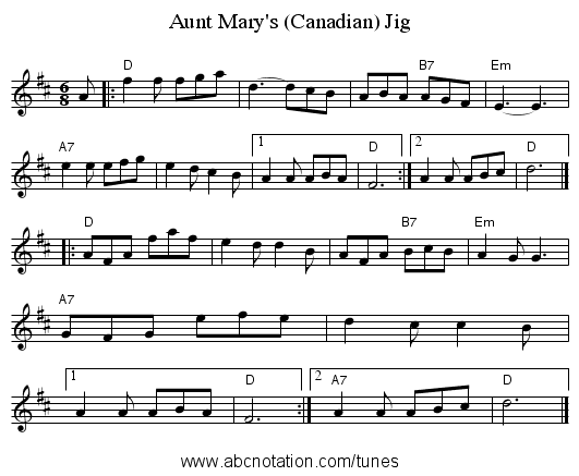 Aunt Mary's (Canadian) Jig - staff notation
