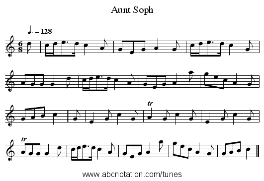 Aunt Soph - staff notation