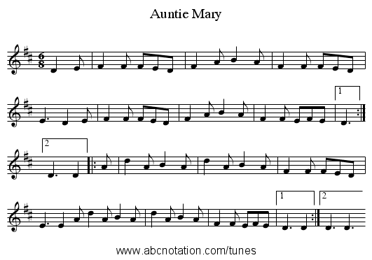 Auntie Mary - staff notation
