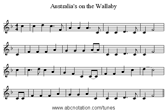 Australia's on the Wallaby - staff notation