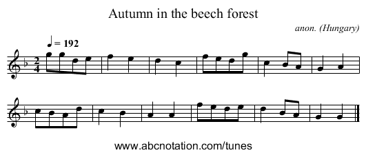 Autumn in the beech forest - staff notation