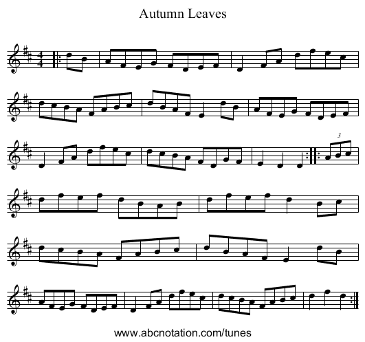 Autumn Leaves - staff notation