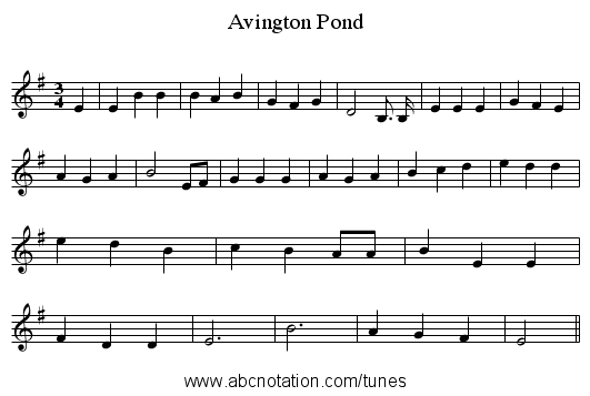 Avington Pond - staff notation