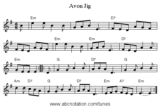Avon Jig - staff notation