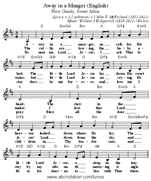 Away in a Manger (English) - staff notation