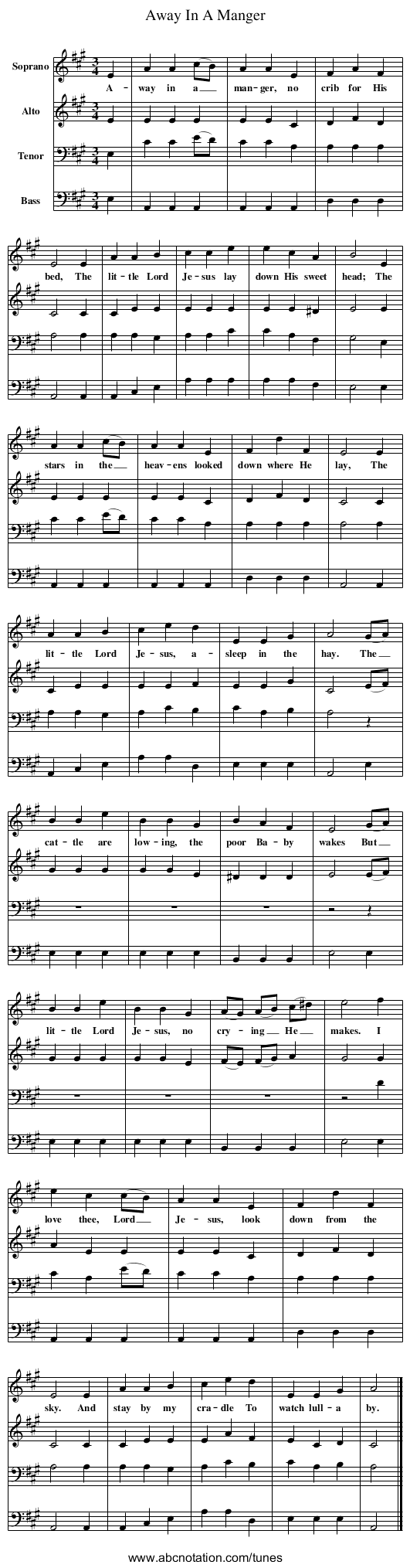 Away In A Manger - staff notation