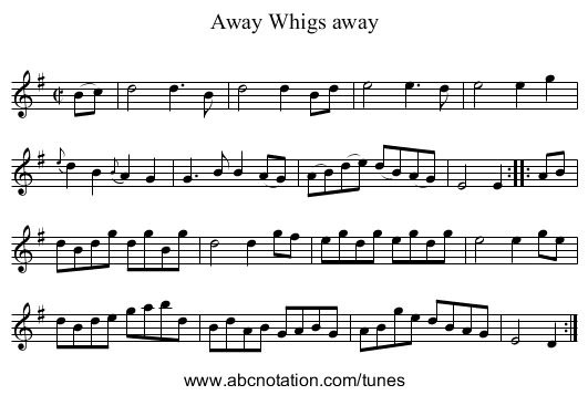 Away Whigs away - staff notation