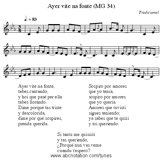 Ayer vite na fonte (MG 34) - staff notation