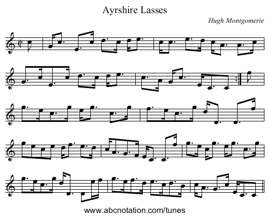 Ayrshire Lasses - staff notation