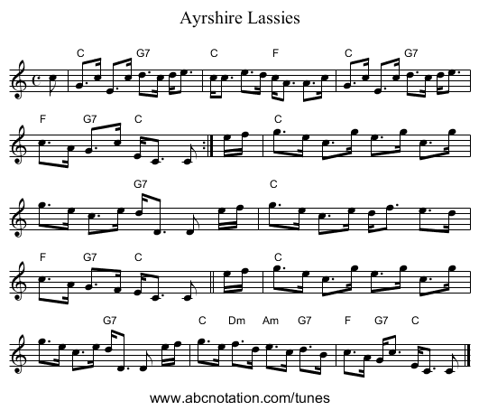Ayrshire Lassies - staff notation
