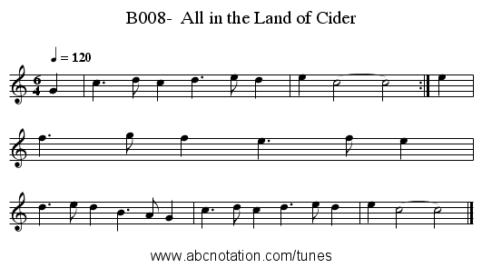 B008-  All in the Land of Cider - staff notation