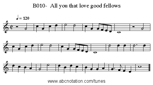 B010-  All you that love good fellows - staff notation