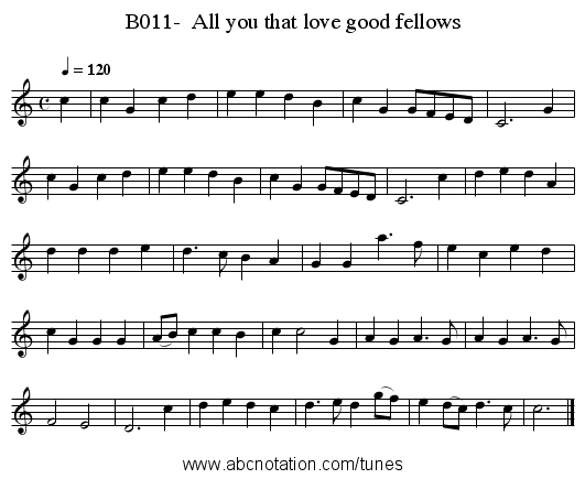 B011-  All you that love good fellows - staff notation