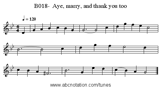B018-  Aye, marry, and thank you too - staff notation