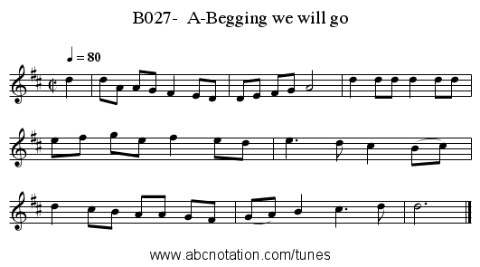 B027-  A-Begging we will go - staff notation