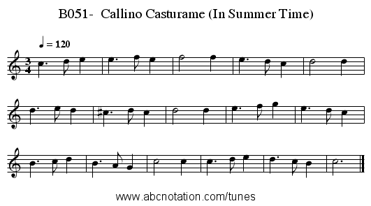B051-  Callino Casturame (In Summer Time) - staff notation