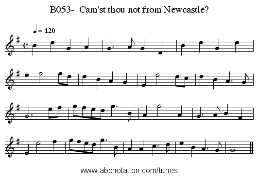 B053-  Cam'st thou not from Newcastle? - staff notation