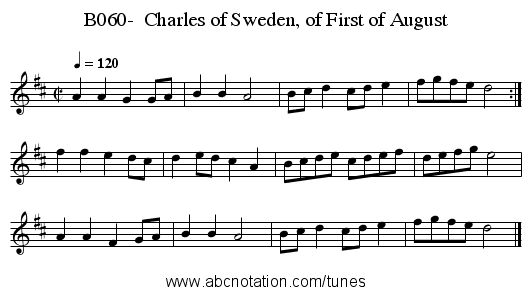 B060-  Charles of Sweden, of First of August - staff notation