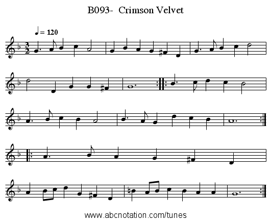 B093-  Crimson Velvet - staff notation