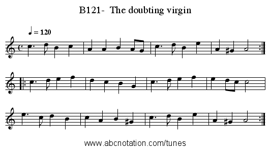 B121-  The doubting virgin - staff notation