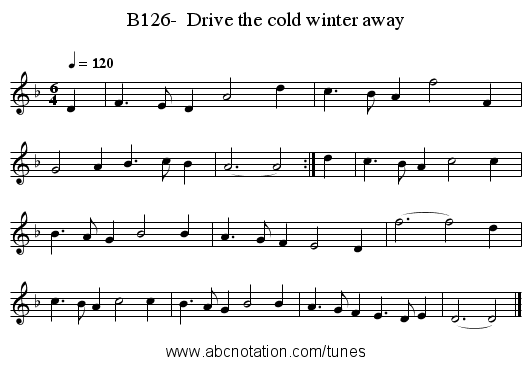 B126-  Drive the cold winter away - staff notation