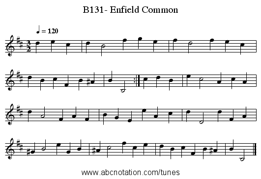 B131- Enfield Common - staff notation