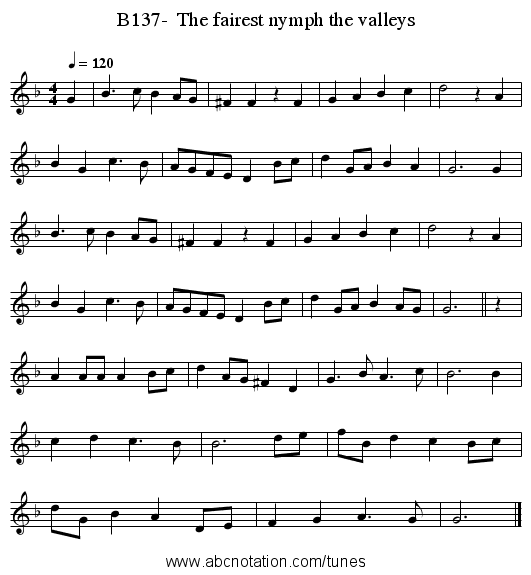 B137-  The fairest nymph the valleys - staff notation