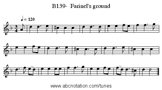 B139-  Farinel's ground - staff notation