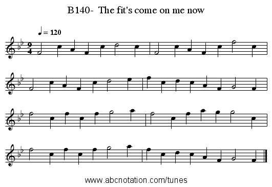 B140-  The fit's come on me now - staff notation
