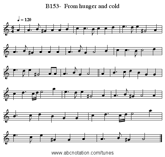 B153-  From hunger and cold - staff notation