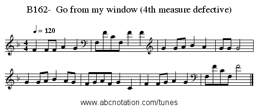 B162-  Go from my window (4th measure defective) - staff notation