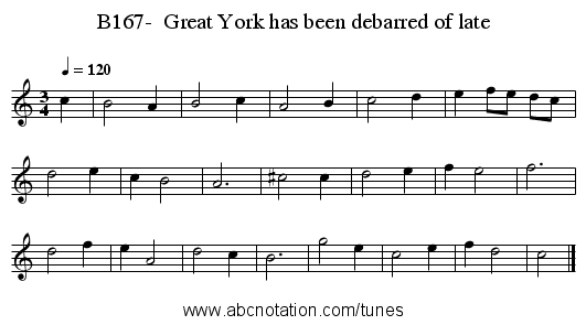 B167-  Great York has been debarred of late - staff notation