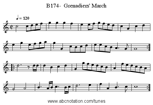 B174-  Grenadiers' March - staff notation