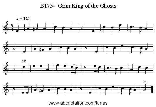 B175-  Grim King of the Ghosts - staff notation