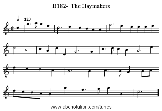 B182-  The Haymakers - staff notation